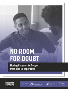 Cover image for No Room for Doubt report featuring two Black students in conversation.