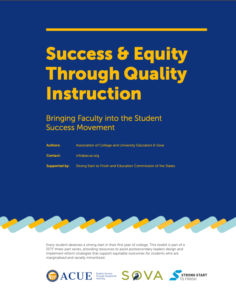 Cover of Toolkit: Success & Equity Through Quality Instruction: Bringing Faculty into the Student Success Movement